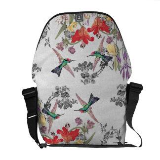 Kolibri-Vogel-Blumen-Garten-Bote-Tasche Kuriertasche