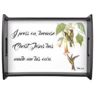 Kolibri-Vogel-Jesus-Bibel-Presse auf Serviertablett