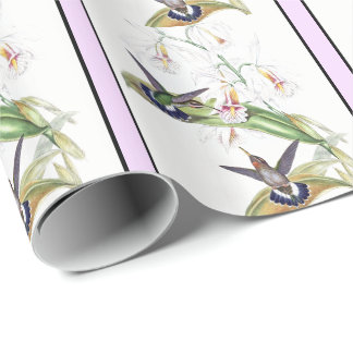 Kolibri-Vogel-Orchideen-Blumen-Verpackungs-Papier Geschenkpapier