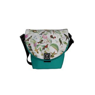 Kolibri-Vogel-Tier-Blumen-Bote-Tasche Kuriertasche