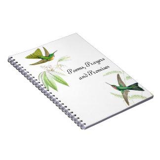 Kolibri-Vogel-Tier-Blumen-Tiere mit Blumen Notizblock