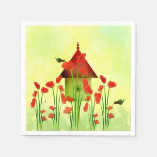 Kolibris in den Mohnblumen-Papierservietten Serviette