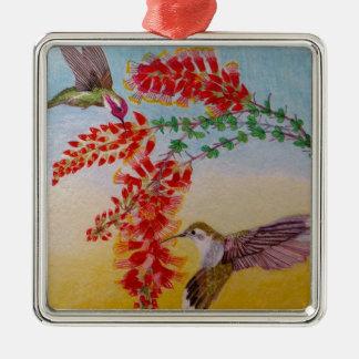 Kolibris Quadratisches Silberfarbenes Ornament
