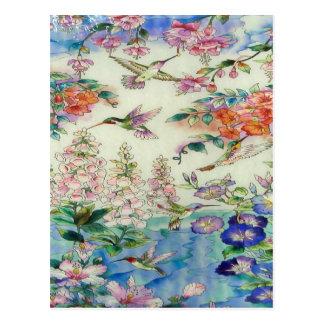 Kolibris und beflecktes Glas wow der Blumen Postkarte