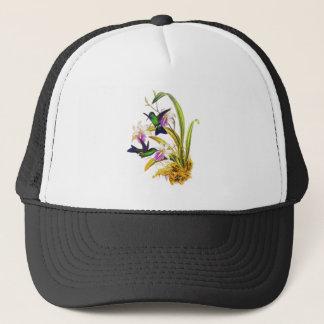 Kolibris und lila Orchideen Truckerkappe