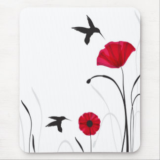 Kolibris und Mohnblumen-Blumen Mauspad