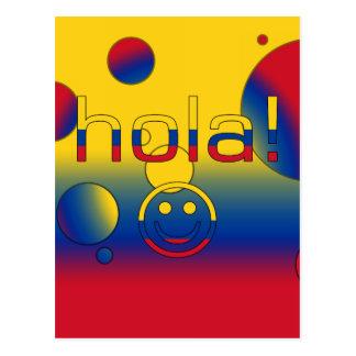Kolumbianische Geschenke: Hallo/Hola + Smiley Postkarte