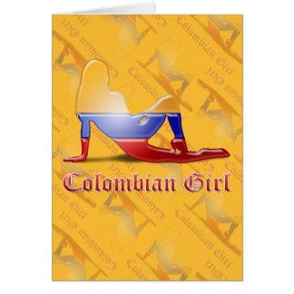 Kolumbianische Mädchen-Silhouette-Flagge Karte
