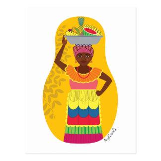 Kolumbianische Palenquera Cartagena Matryoshka Postkarte