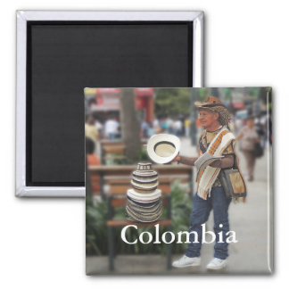 Kolumbianischer Hut-Verkäufer-kundengerechter Text Quadratischer Magnet