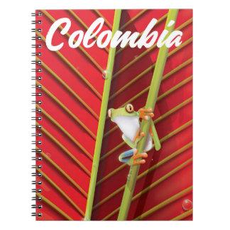 Kolumbien-Baumfrosch-Reiseplakat Spiral Notizblock