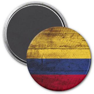 Kolumbien-Flagge auf altem hölzernem Korn Runder Magnet 7,6 Cm