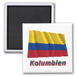Kolumbien Fliegende Flagge MIT Namen Quadratischer Magnet