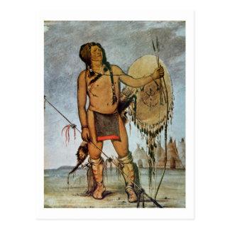 Komanche-Krieger mit einem Schild, einer Lanze und Postkarte