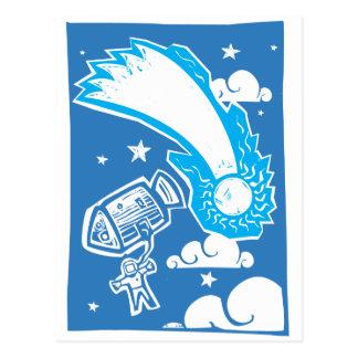 Komet und Astronaut Postkarte