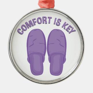 Komfort ist Schlüssel Rundes Silberfarbenes Ornament