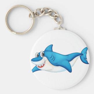 Komische Haifischillustration Standard Runder Schlüsselanhänger