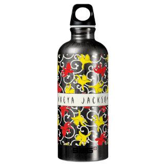 Komische lustige Streitkatze Asiatsillustration Wasserflasche