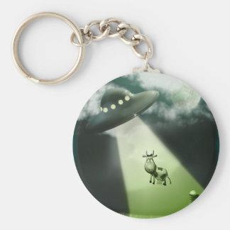 Komische UFO-Kuh-Abduktion Keychain Standard Runder Schlüsselanhänger