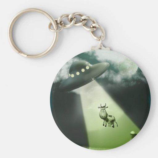 Komische UFO-Kuh-Abduktion Keychain Schlüsselanhänger
