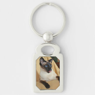 Komischer die Siegel-Punkt-siamesische Katze, die Silberfarbener Rechteckiger Schlüsselanhänger