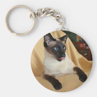 Komischer die Siegel-Punkt-siamesische Katze, die Standard Runder Schlüsselanhänger