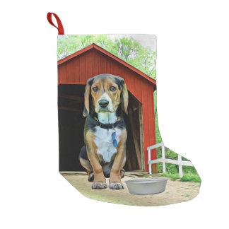 Komisches Sandy-Nebenfluss-Brücken-Hundehaus Kleiner Weihnachtsstrumpf