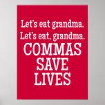 Kommas retten die Leben - lustiges Plakat