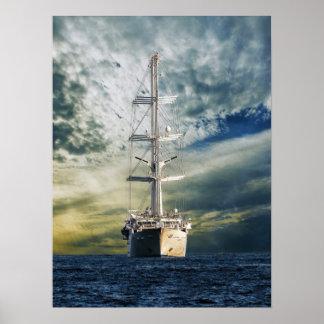 Kommen in Ansicht-/Segeln-Schiff-Mega- Yacht Poster