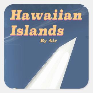 Kommerzielles Reiseplakat der hawaiischen Inseln Quadratischer Aufkleber