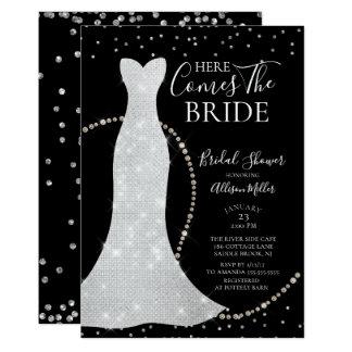 Kommt hier die Braut-Brautparty-Einladung Karte