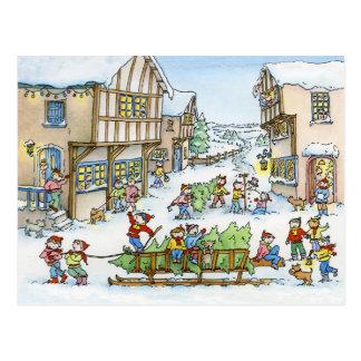 Kommt hier die Weihnachtsbaum-Postkarte Postkarte