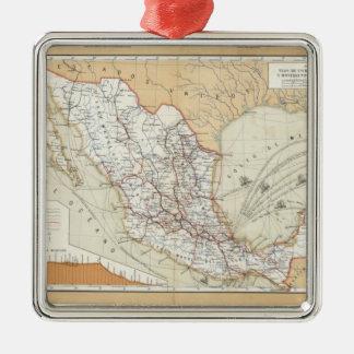 Kommunikation und Transport von Mexiko Quadratisches Silberfarbenes Ornament