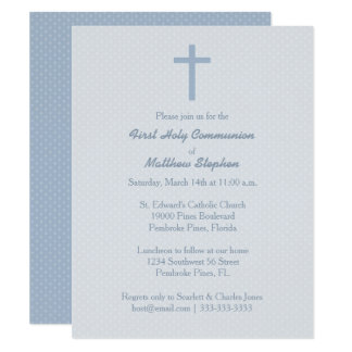 Kommunions-blaues Pastellkreuz Karte