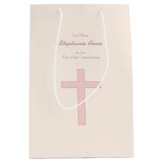 Kommunions-Pastellrosa-Kreuz Mittlere Geschenktüte