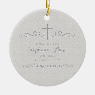 Kommunions-verziertes Kreuz im Taupe-Blumenmuster Keramik Ornament