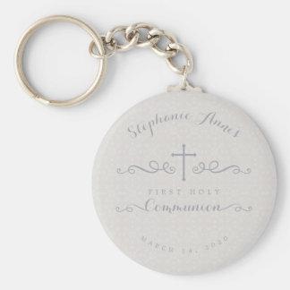 Kommunions-verziertes Kreuz im Taupe-Blumenmuster Schlüsselanhänger