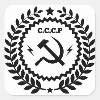Kommunistisches CCCP Hammer-Sichel-Abzeichen Quadratischer Aufkleber