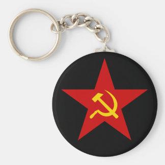 Kommunistisches rotes Stern (Hammer u. Sichel) Standard Runder Schlüsselanhänger