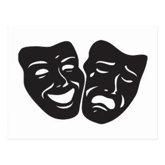 Komödien-Tragödie-Drama-Theater-Masken Postkarte