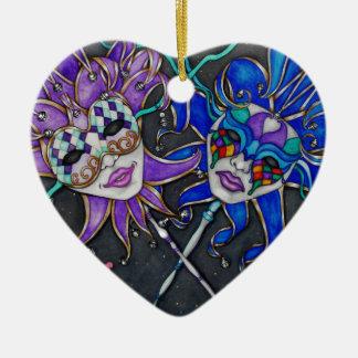 Komödien-/Tragödie-Spaßvogel-Masken Keramik Herz-Ornament