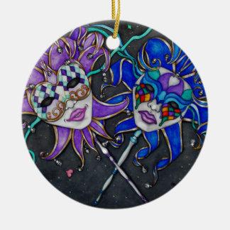 Komödien-/Tragödie-Spaßvogel-Masken Keramik Ornament
