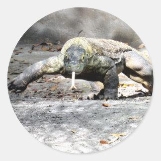 Komodo Drache auf den Jagd-Aufklebern Runder Aufkleber