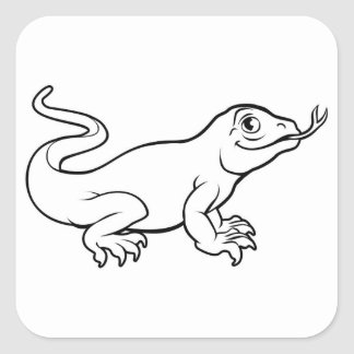 Komodo Drache-Eidechsen-Cartoon-Charakter Quadratischer Aufkleber