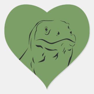 Komodo Silhouette Herz-Aufkleber