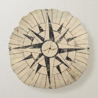 Kompass-Gesicht Rundes Kissen