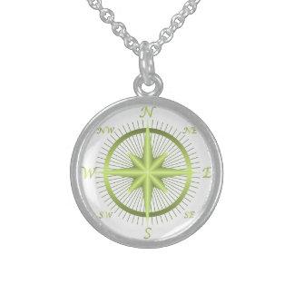 Kompass Sterlingsilber Halskette