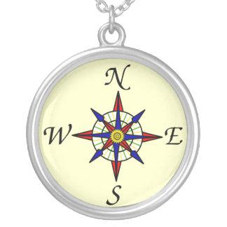 Kompass Halskette Mit Rundem Anhänger