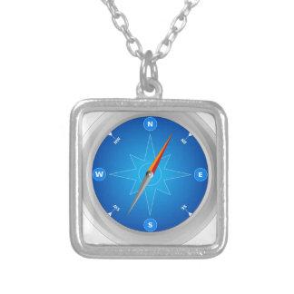 Kompass Navigationssafari Halskette Mit Quadratischem Anhänger