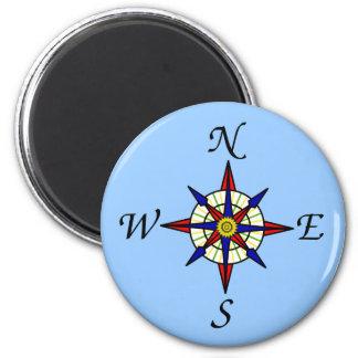 Kompass-Rose auf Blau Runder Magnet 5,1 Cm